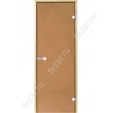 HARVIA Дверь стеклянная 7/19 коробка ольха осина бронза